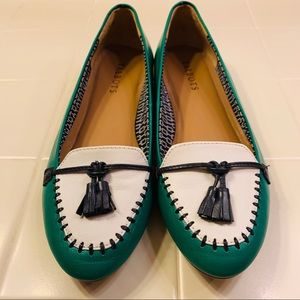 Talbots green/white with tassel flat loafer shoe